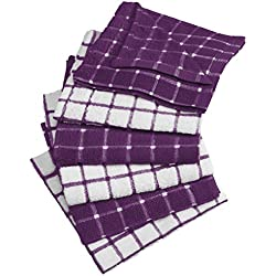 "DII Cotton Terry Windowpane Dish Cloths, 12 x 12"" Set of 6, Machine Washable and Ultra Absorbent Kitchen Bar Towels-Eggplant"