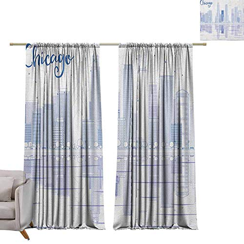 berrly Curtains Window Drapes Chicago Skyline,Skyscrapers Reflection on Lake Michigan USA City Architecture Print, Blue and White W84 x L84 Blackout Window Curtain