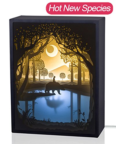 Papercut Light boxes, 3D Shadow Box Led light night lamp, Decorative Mood Light for Kids and Adults, Baby Nursery Kids Bedroom Living Room Night Light(My Friend)