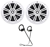 Kicker 41KM604W 6-1/2'' 6.5'' 150W Peak/50W RMS Marine Speakers KM60+ Earbuds