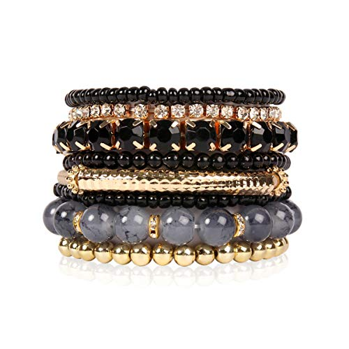 RIAH FASHION Multi Color Stretch Beaded Stackable Bracelets - Layering Bead Strand Statement Bangles (Original - Black,7)