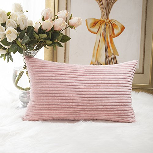 HOME BRILLIANT Striped Corduroy Oblong Throw Pillowcase Cushion Cover for Lumbar, (12x20 inches) 30cm x 50cm, Baby ()