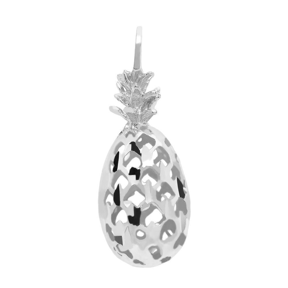3D Pineapple Pendant with Necklace in .925 Sterling Silver