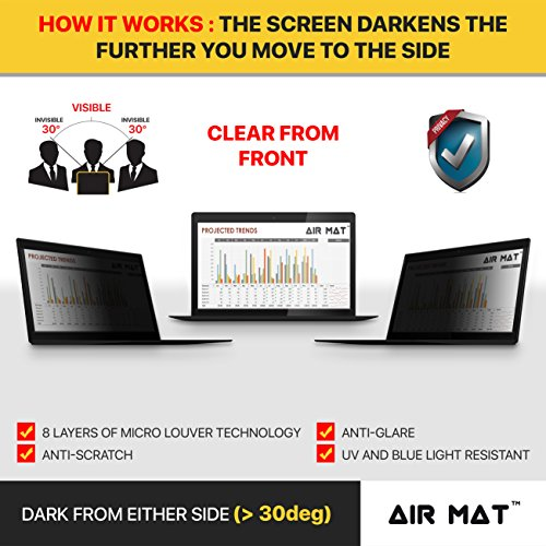 13.3 Inch Privacy Screen Filter for Widescreen Laptop/Notebook, Tablet (16:9 Aspect Ratio). Best as Anti Glare Protector Film for data confidentiality - compare to 3M (13.3W9) by Air Mat (Image #1)