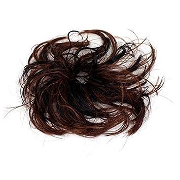 Banda de Pelo Corto Estilo eDealMax Cola de Caballo rizada peluca elástico Negro Color café