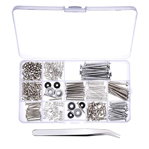 Canomo 254 Pieces Electric Guitar Screw Kit (9 Types) with Springs for Electric Guitar Bridge, Pickup, Pickguard, Tuner, Switch, Neck Plate, Guitar Strap Buttons and A Elbow Tweezers, Chrome