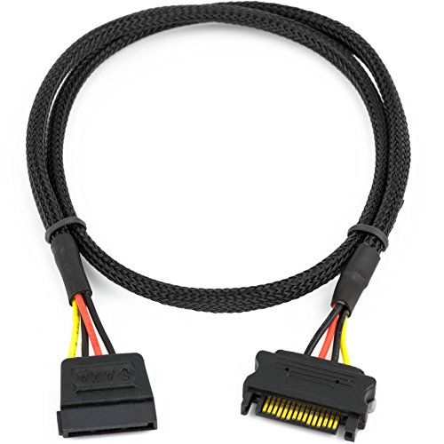 CRJ SATA Power Extension Cable with High Density Black Sleeving 24