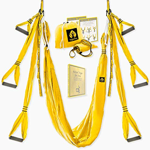 Yoga4You Aerial Yoga Swing Set - Yoga Hammock Swing - Trapeze Yoga Kit - Extension Straps eBook - Wide Flying Yoga Inversion Tool - Antigravity Ceiling Hanging Toga Sling - Adult Kids Arial (Yellow)