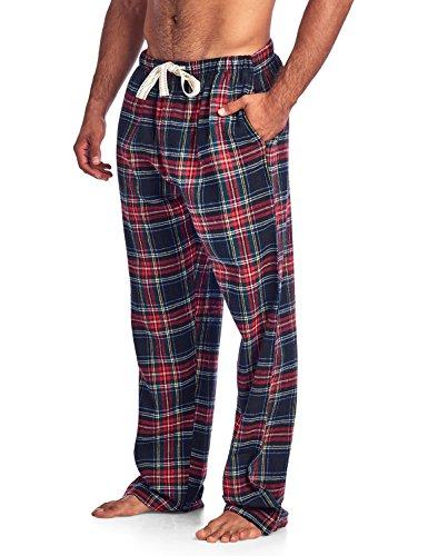 Ashford & Brooks Mens Super Soft Flannel Plaid Pajama Sleep Pants - Black Stewart - X-Large - Plaid Pajama Bottoms