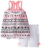 Little Lass Baby Girls' Printed Knit Keyhole Back Detail Bike Short Set, Hot Pink, 12 Months