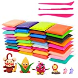 YUEAON 36 Colors Air Dry Soft Polymer Clay Modeling Magic Plasticine Clay Fluffy Slime with Cutting Tools for Kids-Super Light-About 1 Pound/Pack