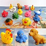 13 Pcs Rubber Bath Toys With Sound ,Mumustar Bathtub Shower Toy Ducks Turtle Frog For Baby Children Shower Playing