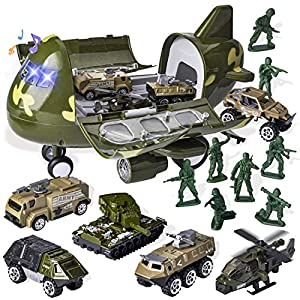 Best Epic Trends 51rhO2QKtXL._SS300_ 15 PCS Military Friction Powered Transport Cargo Airplane Toy with Die-cast Military Cars Including 6 Diecast Military…