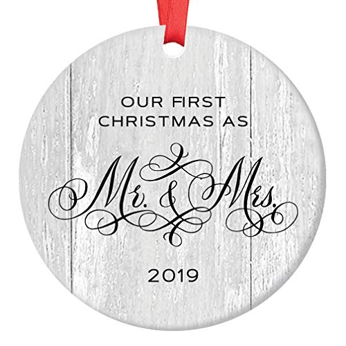 2019 Wedding Gifts for the Couple Mr and Mrs Engagement Newlywed Our First Christmas Marriage Ornament 1st Xmas 3