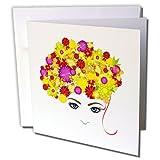 3dRose a una mujer cara con amarillo y morado flor pelo–Tarjetas de felicitación, 6x 6inches, Set de 12(gc 111583_ 2)