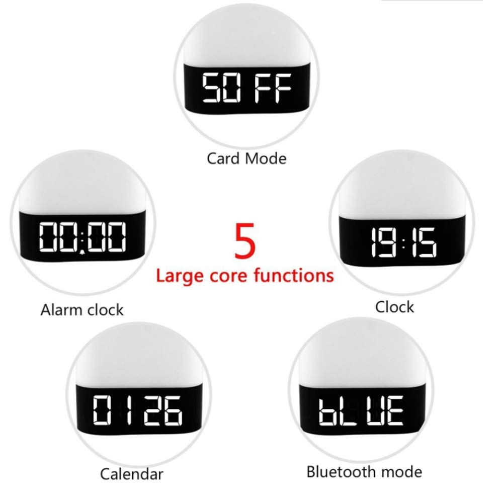Led Audio Light Wireless Bluetooth Speaker Light Touch Bedside Atmosphere Light With Time Alarm Clock,White