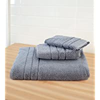 Cariloha 600 GSM Bamboo & Turkish Cotton 3 Piece Towel Set - Odor Resistant, Highly Absorbent - Set Includes 1 Bath Towel, 1 Hand Towel & 1 Washcloth - Blue Lagoon