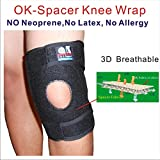 C&A Support,KN-OS-19,New 3D Breathable 4 Way Elastic Fabric 8.5 Inch Width Knee Stabilizer With Spring Stays & Big Pad, Black, One Size Fit Most, One PCS