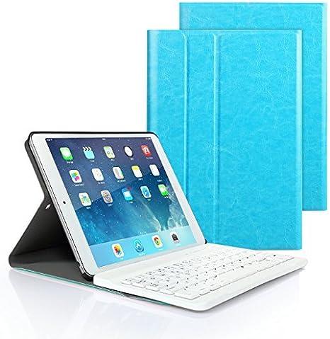 iPad 9.7 2017/2018 Funda de teclado, Besmall teclado inalámbrico Bluetooth con cuero de la PU cubierta Para Nuevo Apple iPad 9.7 Lanzado en 2017/2018, iPad Air 1/2, iPad Pro 9.7 - Azul