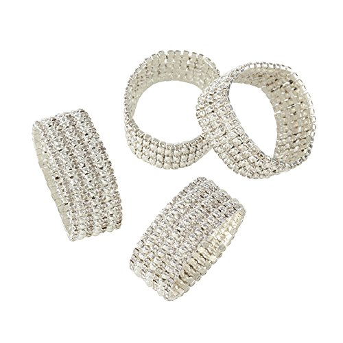 SARO LIFESTYLE Glass Stone Jeweled Napkin Ring - Set of 4, Silver