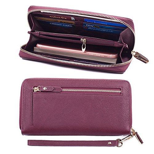 Bricraft Women RFID Leather Wristlet Wallet Card Holder Purse Organizer Clutch Wine Red ()