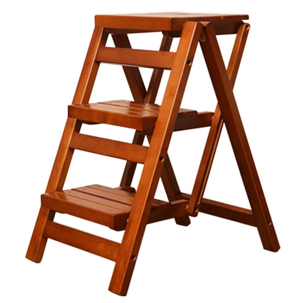 YH ポータブル多機能家の創造的な木製のはしごステップスツール折りたたみチェア A+ (色 : Light Brown) B07JLQVVDD Light Brown