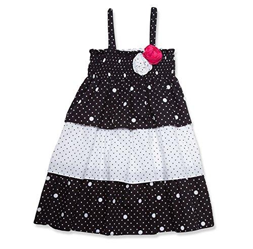 Girls Black White Smocked Dress (Penelope Mack Little Girls Spring Smocked Polka Dot Dress - Black & White - 6)