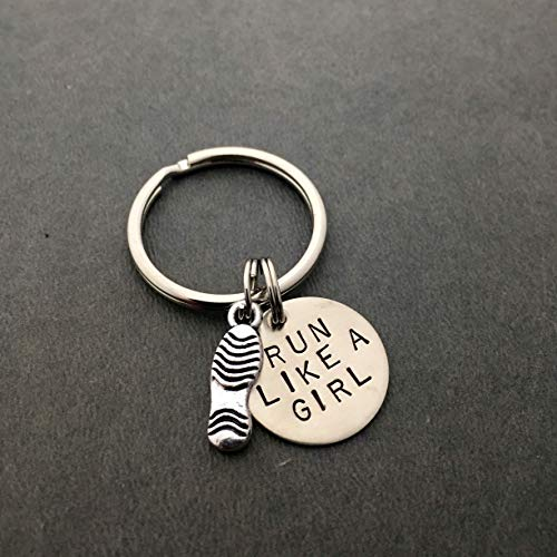 (Shoe Print RUN LIKE A GIRL Key Chain - Pewter Flat Shoe Print Charm and Hand Stamped Round Nickel Silver Pendant on Round Stainless Steel Key Ring)