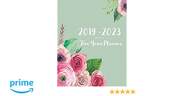 2019 2023 five year planner watercolor pink flowers 60 months planner and calendar