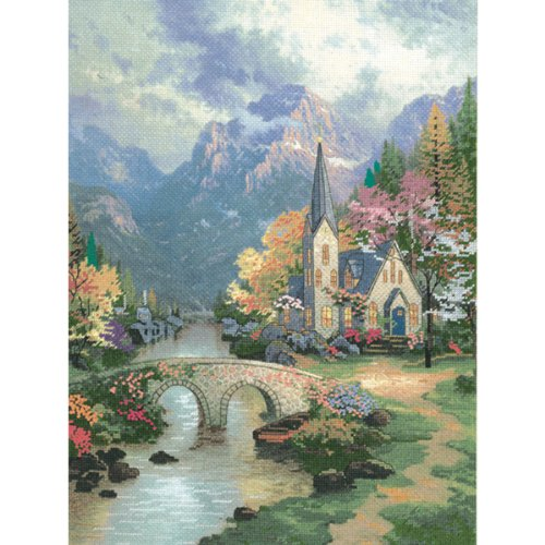 M C G Textiles Thomas Kinkade Mountain Chapel Embellished Cross Stitch Kit, 12 by 16-Inch