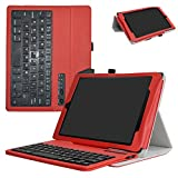 All-New Fire HD 10 2017 Bluetooth Keyboard Case,Mama Mouth Slim Stand PU Leather Cover With Romovable Bluetooth Keyboard For All-New Fire HD 10 Tablet 10.1'' (7th Generation, 2017 Release),Red