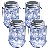 Abkshine 4 Set Cool White Solar Mason Jar Lid String Lights Kit w/ Mason Jars Stainless Steel Hangers for Back Yard Summer Garden Addition Decor Hang on Tree Solar Lantern