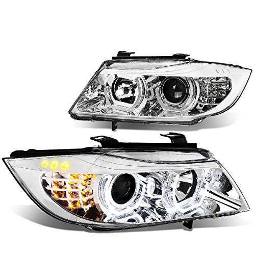 For BMW E90 3-Series Pair of 3D Crystal Halo Projector Chrome Housing Amber LED Corner Headlights