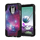 Capsule Case Compatible with LG Stylus 4, LG Stylo 4 (Year 2018), LG Stylus Q [Dual Layer Combat Style T-Style Kickstand Armor Case Black] for LG Stylo 4 - (Big Space)