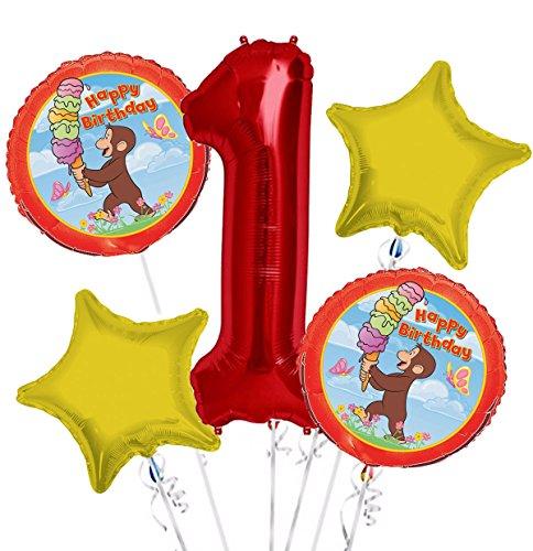 Curious George Balloon Bouquet 1st Birthday 5 pcs - Party (Curious George 1st Birthday)