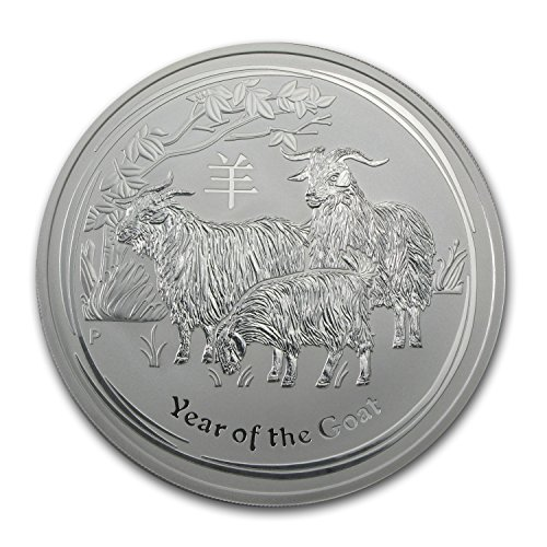 - 2015 AU Australia 10 oz Silver Lunar Goat BU Silver Brilliant Uncirculated