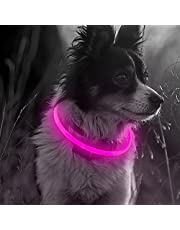 Illumifun LED Dog Collar, USB Rechargeable Glowing Pet Safety Collar, TPU Cuttable Light Up Dog Collars for Your Small Medium large Dog (Candy Pink)