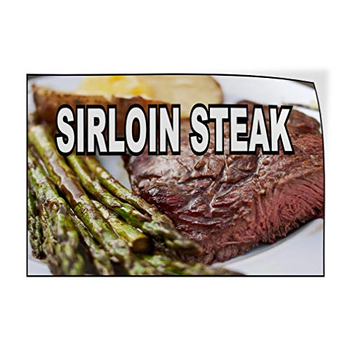 (Decal Sticker Multiple Sizes Sirloin Steak Food Fair Restaurant Cafe Market Restaurant & Food Sirloin Steak Outdoor Store Sign White - 40inx26in,)