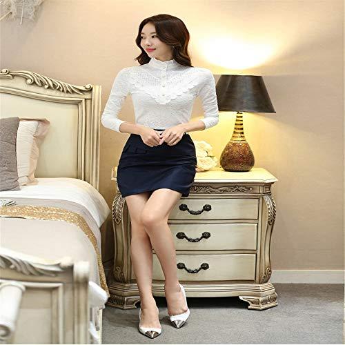 Dimensioni Shirloy Lunghe Grandi T Pizzo Tomaia Maniche Coste A Caldo shirt Maglietta Velluto Bianca In Donna Con rOxrIfH