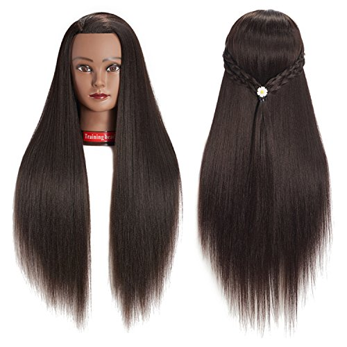 "26-28"" 100% Yaki Hair Mannequin Head Training Head Cosmetology Manikin Head Doll Head With Free Clamp (1813BY0220)"