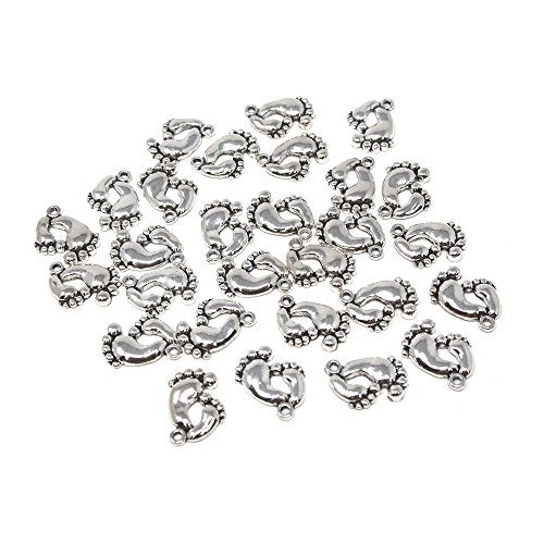 Homeford Small Baby Footprint Metal Charms, 3/4-Inch, 28-Count (Silver)