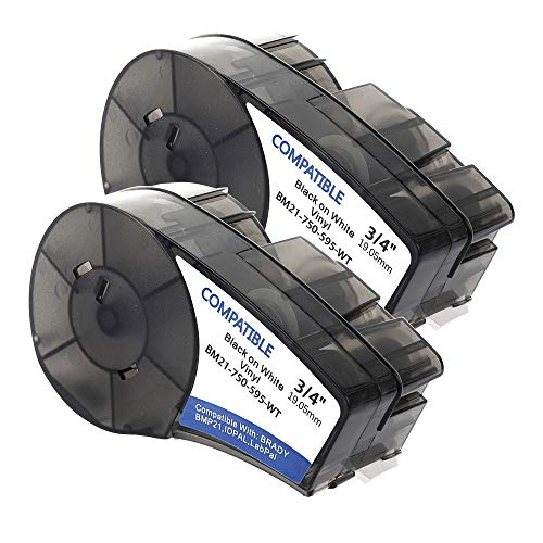Samshion (M21-750-595-WT) Compatible Brady High Adhesion Vinyl Label Tape - Black on White Vinyl Film - Work with BMP21-PLUS, Brady BMP21-LAB -0.75
