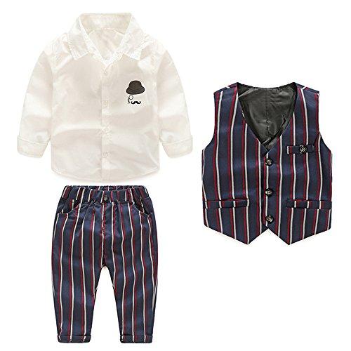 Tem Doger Toddler Baby Boys Long Sleeve Button Down Woven Shirt Purple Pinstripe Vest Pants 3Pcs Clothes Suit Set (100/3T)