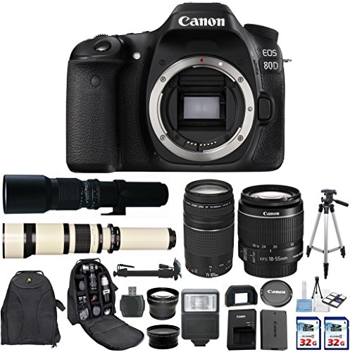 Cheap Canon EOS 80D SLR CMOS 24.2MP Digital Camera with Canon EF-S 18-55mm STM Lens + Canon 75-300mm Zoom Lens + 500mm Preset Telephoto Lens + 650-1300mm Zoom Lens + 2 pc Commander 32GB Memory Cards
