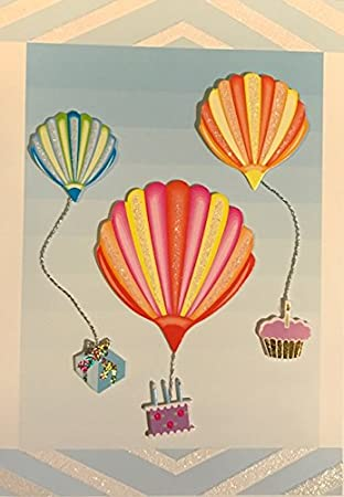 Burgoyne Glitter Embellished Sea Shell Balloons Birthday Card