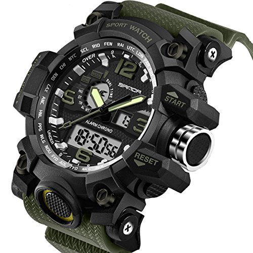 Sanda Men's Digital Wrist Watches Military Sports Electronic Quartz Outdoor Army LED Stopwatch Big Face