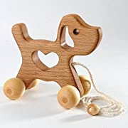 Pull Along Toy - Wooden doggy Baby Toy - Montessori Inspired Wood Dog Toy - Eco-Friendly Wooden Toy for Toddlers