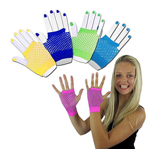 Retro 80's Costumes For Women (Toy Cubby Funky Retro Style Colorful Fishnet Wrist Gloves - 6 Pieces)