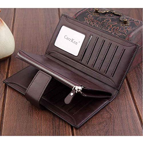 Card Holder Coin Purse Men's Long Wallet Multifunctional Card Case Simple and Stylish Long Mobile Phone Bag (Coffee)