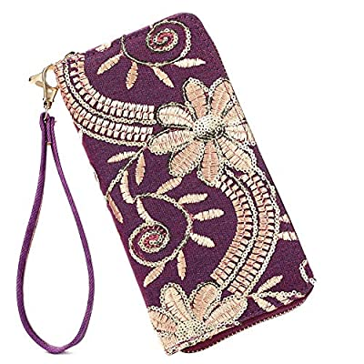 Laimi Duo Womens New Design Bohemian Floral Sequin Wallet Canvas Card Holder Phone Purse Wristlet